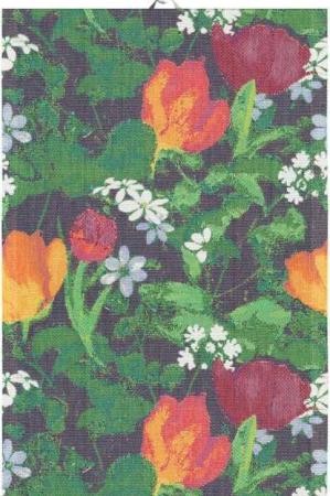 Lækkert håndklæde med forårsblomster. Farverigt Håndklæde af 100% økologisk bomuld fra Ekelund.