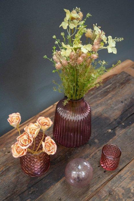 Lyserød farvet glas - farvet glasvase