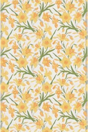 Smuk bomuldsdug med gule påskeliljer. Blomsterdug af 100% økologisk bomuld fra Ekelund.