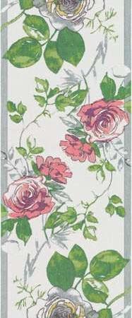 Smuk bomuldsløber med røde roser. Bordløber af 100% økologisk bomuld fra Ekelund.