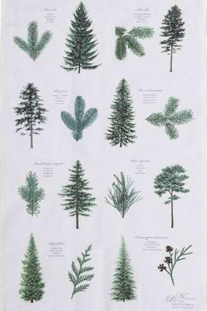 Viskestykke af økologisk bomuld fra Koustrup og Co. Viskestykke med nåletræer.