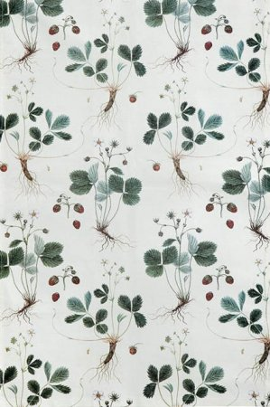 Viskestykke af økologisk bomuld fra Koustrup og Co. Viskestykket flora danica med jordbærplanter.