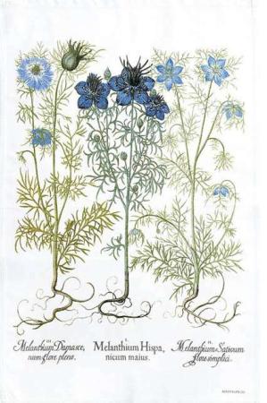 Viskestykke af økologisk bomuld fra Koustrup og Co. Viskestykket renæssancehaven med blå blomster.