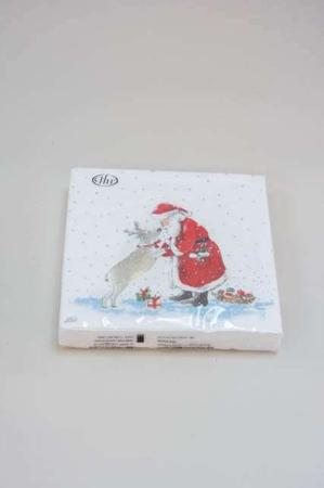 Juleservietter med julemanden og rensdyr fra Ihr. Frokostservietter - hvid og rød