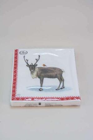 Juleservietter med julemandens rensdyr fra Ihr. Frokostservietter - hvid og rød