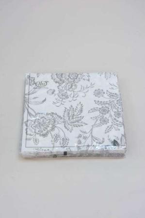 Servietter med blomstermotiv. Frokostservietter - grå og hvid