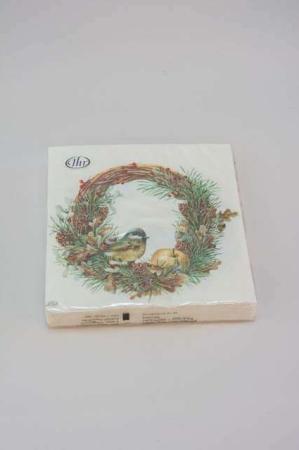 Servietter med efterårskrans med fugl. Frokostservietter - efterårsmotiv