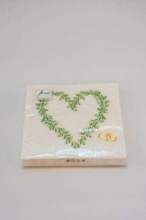 Servietter med forlovelsesringe og hjerte. Frokostservietter -cremefarvede
