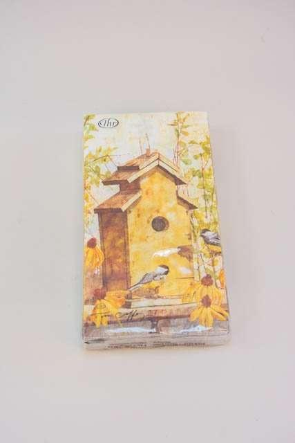 Servietter med fuglehus om efteråret. Frokostservietter - efterårsmotiv