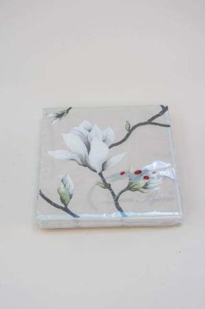 Servietter med hvide blomster. Frokostservietter - cremefarvet