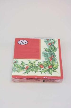 Servietter med juleblomsterkrans med mistelten og gran. Frokostservietter med julemotiv - rød, grøn og hvid