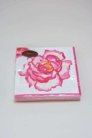 Servietter med lyserød rose. Frokostservietter - rød og lyserød