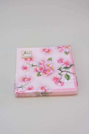 Servietter med lyserøde blomster. Lyserøde frokostservietter