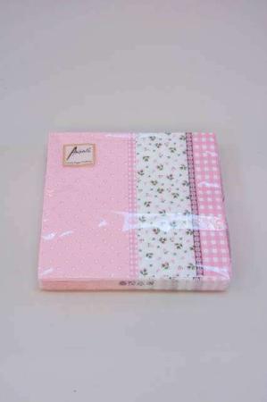 Servietter med lyserøde prikker, tern og blomster. Frokostservietter med lyserødt motiv