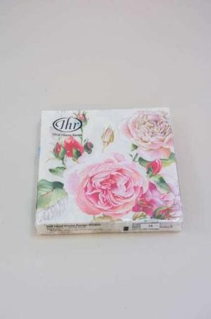 Servietter med lyserøde roser fra Ihr. Frokostservietter - hvide