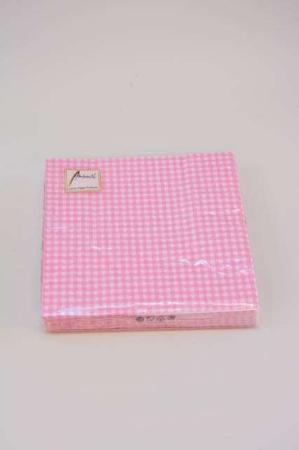 Servietter med lyserøde tern. Frokostservietter