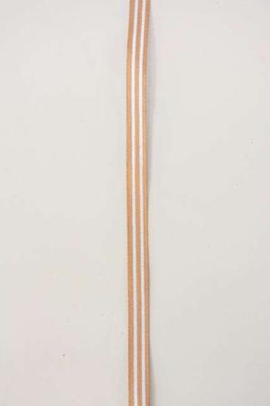 Brunt kobber dekorationsbånd med hvide striber fra 2Have. Smukt bånd til dekorationer og gaver.
