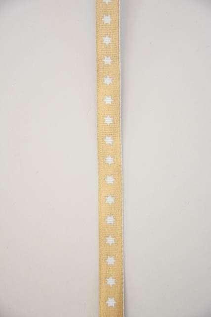 Guld dekorationsbånd med hvide stjerner fra 2Have. Smukt bånd til dekorationer og gaver.