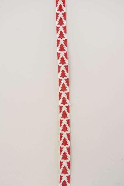 Hvidt dekorationsbånd med røde juletræer fra 2Have. Smukt julebånd til juledekorationer og julegaver.