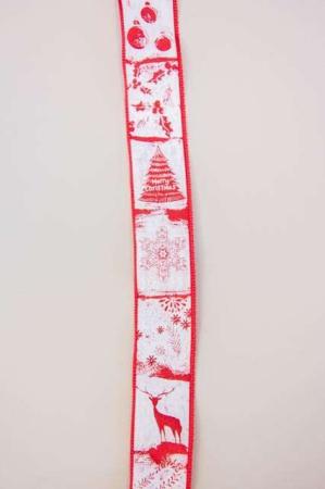 Hvidt og rødt dekorationsbånd med julemotiver fra Sae Il. Klassisk julebånd til juledekorationer og julegaver