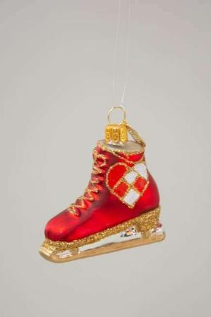 Rød julekugle fra Brink Nordic. Juleornament - skøjte. Klassisk julepynt fra Brink Nordic.