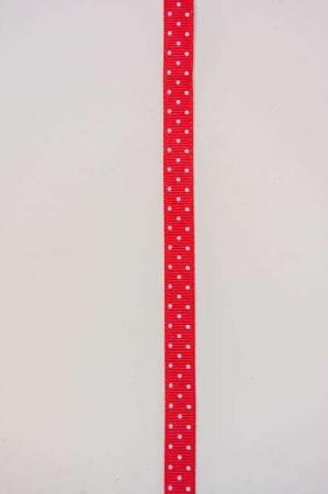 Rødt dekorationsbånd med hvide prikker fra 2Have. Smukt bånd til dekorationer og gaver.