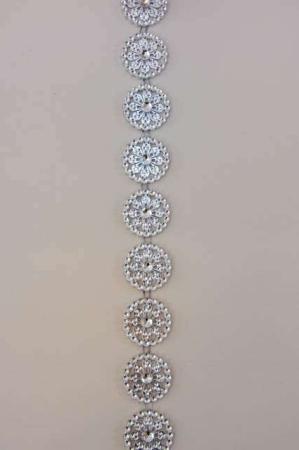 Sølv dekorationsbånd med glimtende blomster fra Sae Il. Bånd til dekorationer og gaver
