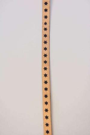 Skinnende brunt dekorationsbånd med sorte stjerner fra 2Have. Smukt bånd til dekorationer og gaver.