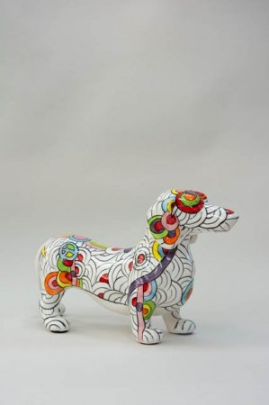Sparebøsse gravhund - hvid med farverigt mønster. Flot sparegris til børn og voksne fra Pomme Pidou.