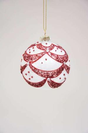 Rød og hvid julekugle med guirlander og glimmer. Smuk juletræskugle.