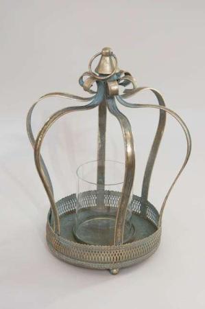 Antik guld krone med glas indsats til lys. Deko krone fra la vida