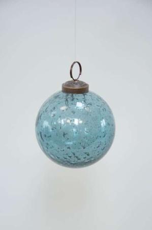 Blå julekugle af glas med bobler. Smuk glasjulekugle fra ib laursen