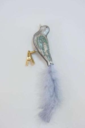 Blågrå deko glasfugl på clips
