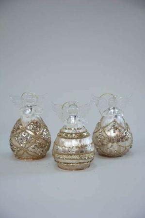 Buttede glasengle med guld mønster