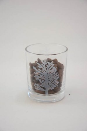 Klar fyrfadsglas med træ motiv