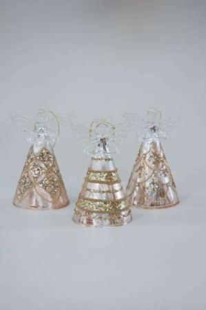 Glas engle med guld mønster