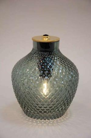 Grøn glas lampe med LEDlys.