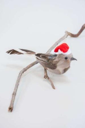 Grå deko fugl med nissehue og clips