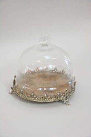 Guld fad med glaskuppel. Fad til dekorationer fra la vida