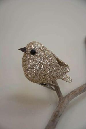Guld glimmer fugl på clips