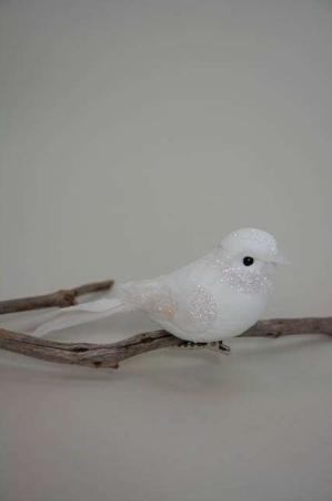 Hvid fugl på clips med glimmer