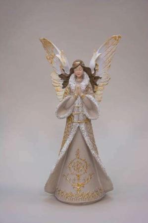 Hvid guld bedende juleengel. Smuk englefigur