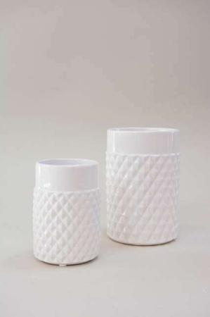 Hvide urtepotteskjulere med hvid glasur
