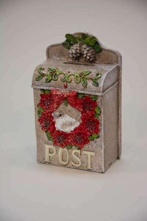 Jule postkasse til juleønsker og julehilsner. Juledekoration til ophæng.