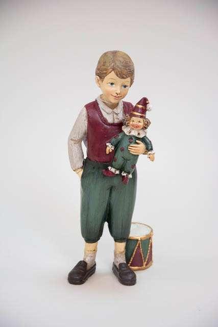 Julefigur af dreng med tromme og dukke som julegaver
