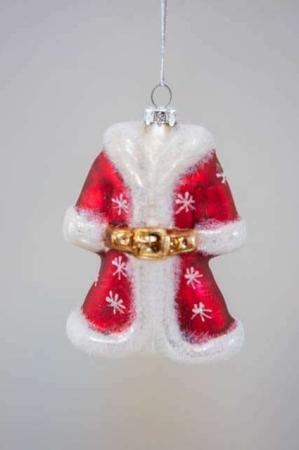 Julekugle af glas - julemandsfrakke