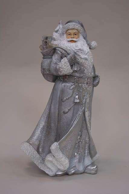 Julemandsfigur sølv med gavesæk over skulderen