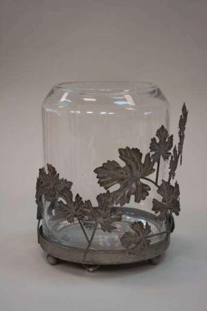 Mundblæst hurricaneglas med metalblomster