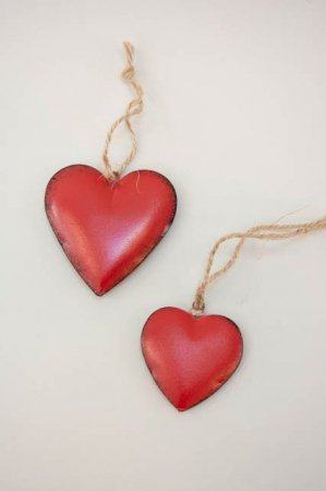 Rødt metal hjerte - julepynt