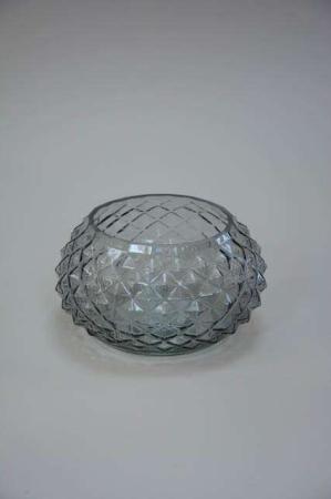 Røgfarvet glas bowle med mønster.